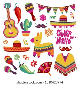 Mexican fiesta set. Cinco de mayo party elements sombrero, pinata and chili pepper, guitar vector collection