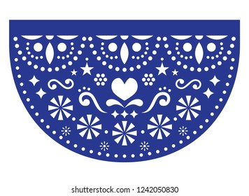 Mexican fiesta vector template design, Papel Picadp paper cut out  with floral and geometric pattern, traditional party decoration from Mexico. Navy blue background inspired by folk art from Mexico