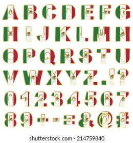 mexican flag alphabet shapes with letters, numbers and punctuation, isolated on white