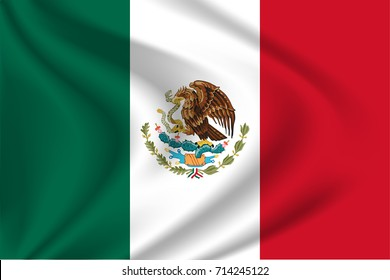 Mexican flag background with cloth texture. Mexican Flag vector illustration.