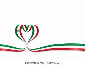 Mexican flag heart-shaped wavy ribbon. Vector illustration.