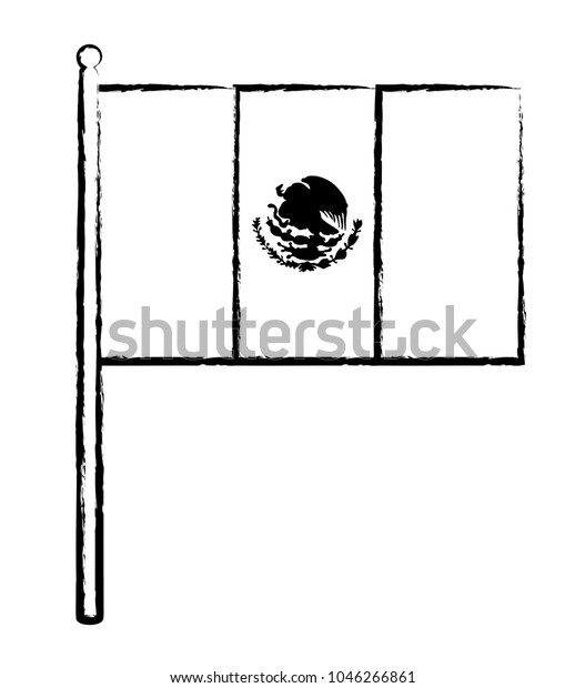 Mexican Flag Icon Stock Vector Royalty Free 1046266861