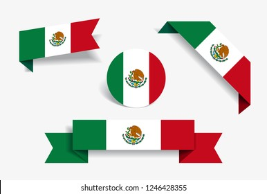 Mexican flag stickers and labels set. Vector illustration.