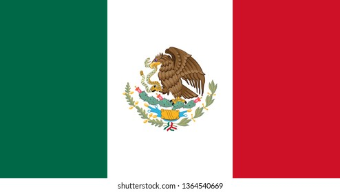 Mexican flag symbol. Flag of Mexico. Vector illustration for Mexican holidays