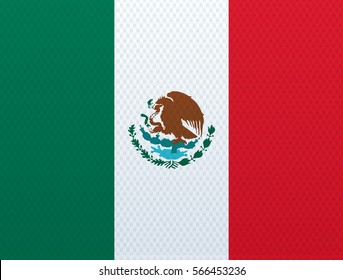 Mexican flag with the texture of fabric.Vector illustration.Eps 10