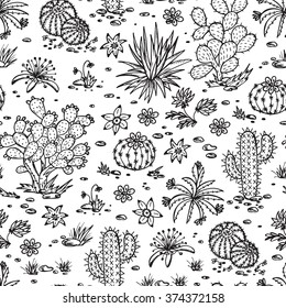 Mexican flora Vector Seamless pattern. Nature of Mexico. Hand drawn doodle Plants, Cactus