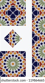 Mexican Flower Talavera Style Tile Vector Design with 1/4, 1/2 and full tile pieces for easy implementation into your design.
