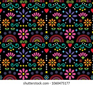 Mexican folk art seamless vector pattern, colorful design with flowers wallpaper inspired by traditional designs from Mexico. Happy flowers and abstract shapes ornament, retro background