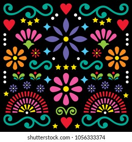 Mexican folk art vector pattern, colorful design with flowers greeting card inspired by traditional designs from Mexico. Happy flowers and abstract shapes, retro background, greeting card