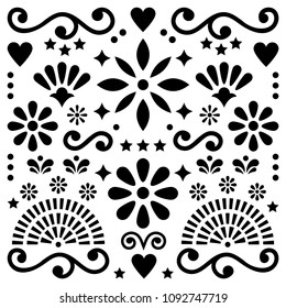 Mexican folk art vector pattern, black and white design with flowers greeting card inspired by traditional designs from Mexico.  Happy flowers and abstract shapes, monochrome retro background