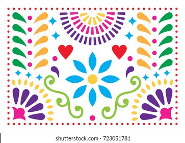 Mexican folk art vector pattern, colorful design with flowers inspired by traditional art form Mexico  Happy background with flowers and abstract shapes isolated on white