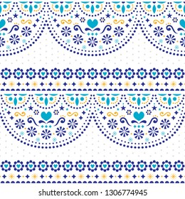 Mexican folk art vector seamless pattern with flowers and geometric shapes, repetitive textile design. Festive background inspired by traditional art form Mexico, floral ornament