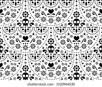 Mexican folk art vector seamless pattern with skulls, Halloween decor, flowers and abstract shapes, black and white textile design     Repetitive monochrome sugar skull background