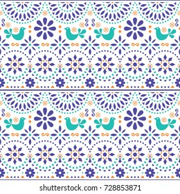Mexican folk art vector seamless pattern with birds and flowers, colorful fiesta design inspired by traditional art form Mexico