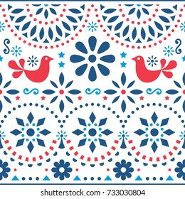 Mexican folk art vector seamless pattern with birds and flowers, red and blue fiesta design inspired by traditional art form Mexico  Flowers and abstract shapes, retro background or greeting card