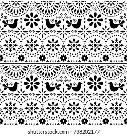 Mexican folk art vector seamless pattern with birds and flowers, black and white fiesta design inspired by traditional art form Mexico