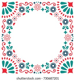 Mexican folk vector greeting card, wedding or party invitation decoration, floral and abstract border, frame  Folk art pattern decor inspired by traditional art form Mexico on white background