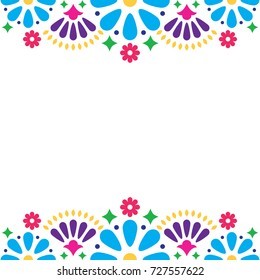 Mexican folk vector wedding or party invitation, floral happy greeting card, colorful design with flowers and abstract shapes.