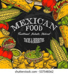Mexican food background with traditional spicy dish. Spicy Mexican menu hot meal and chalkboard vector illustration, tacos, burrito, guacamole, salsa. Food hand drawn label elements