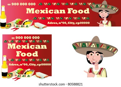 mexican food banner ticket flyer