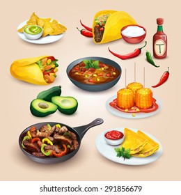 Mexican food. Colorful food illustrations in one set for menu and other design