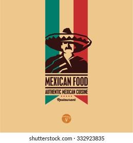 Mexican food, Mexican cuisine restaurant logo, Mexican man icon