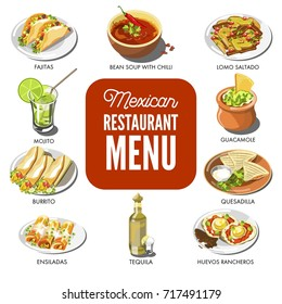 Mexican food cuisine vector traditional dish icons for restaurant menu