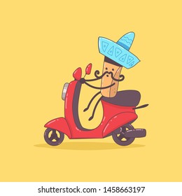 Mexican food delivery. Cute courier character on the moped. Vector cartoon illustration isolated on background.