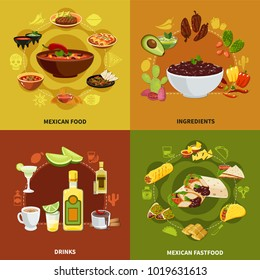 Mexican food design concept with ingredients for traditional dishes, national sandwiches and snacks, drinks isolated vector illustration