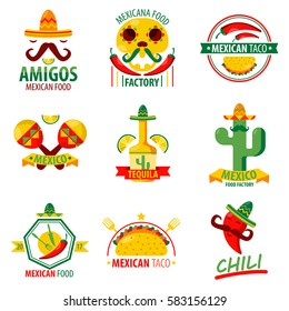 Mexican food and drinks logo emblems vector poster on white. Collection of mexican ethnic cuisine colorful label. Menu elements with fast food meal, red chilli, green cactus, tequila beverage