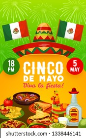 Mexican food and drinks vector design of Cinco de Mayo fiesta party invitation. Sombrero, pinata and flags of Mexico, tequila, margarita and lime, chilli tacos, nachos, avocado guacamole and fireworks