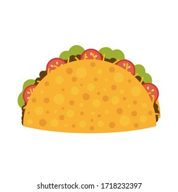 Mexican food. Flat taco. Cartoon tasty fast food tacos isolated on white background. Vector illustration.