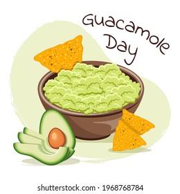 Mexican food guacamole with nachos. Holy guacamole, National Guacamole Day.