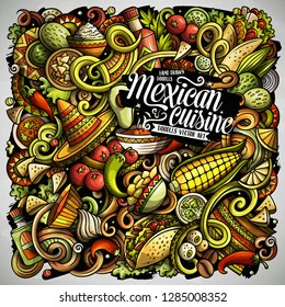 Mexican food hand drawn vector doodles illustration. Cuisine poster design. Mexica Menu elements and objects cartoon background. Bright colors funny picture. All items are separated