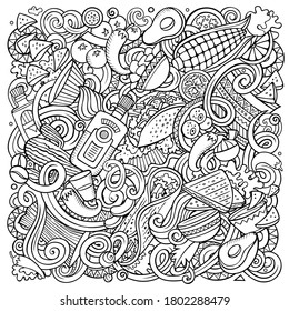 Mexican food hand drawn vector doodles illustration. Cuisine poster design. Mexica Menu elements and objects cartoon background. Sketchy funny picture. All items are separated