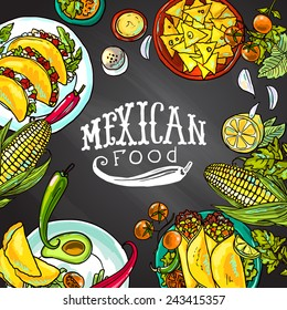 mexican food- illustration on the chalkboard