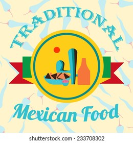 Mexican Food illustration over color background