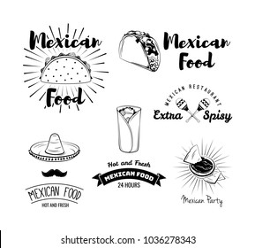 Mexican food. Mexican kitchen. Mexican food menu for restaurant, cafe. Mexican food menu. Vector illustration isolated on white background.