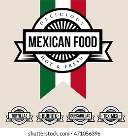 Mexican food label - Tortillas, Burrito, Quesadillas, Tex-Mex