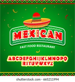 Mexican food logo with mexican alphabet. Mexican Fast food logotype template. Isolated Vector logo design template. - stock vector