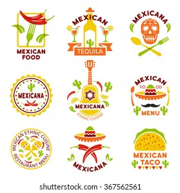 Mexican food logo, labels, emblems and badges, set of vector templates isolated on white background. Mexican ethnic cuisine vector illustration. Restaurant menu design elements