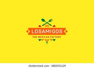 Mexican food logo. Vector logo design template. Mexican green logo food Healthy background. Ethnic isolated vector logo design.
