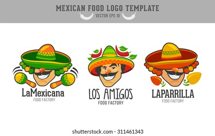Mexican food logo. Vector logo design template. Male with taco