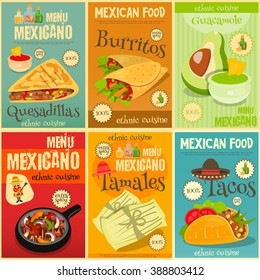 Mexican Food Menu Mini Posters Set with Traditional Spicy Meal. Vector Illustration.