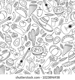 Mexican food and musical instruments icons seamless pattern. Traditional mexican culture icons background