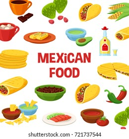 Mexican food poster. Large authentic menu of delicious traditional dishes. Vector flat style cartoon illustration isolated on white background