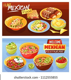 Mexican food restaurant advertisement 2 realistic horizontal banners with guacamole quesadilla hot chili saus isolated vector illustration