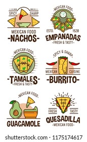 Mexican food restaurant or cafe symbols. Cuisine from Mexico, nachos and empanadas, tamales and burrito, guacamole and quesadilla icons with chili pepper and meat or vegetables vector isolated