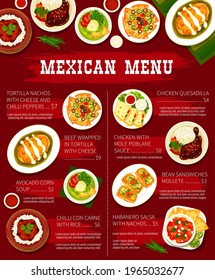 Mexican food restaurant dishes menu template. Tortilla nachos with cheese, beef tortilla wrap and avocado corn soup, chilli Con Carne, chicken quesadilla and Mole Poblano sauce, Habanero salsavector