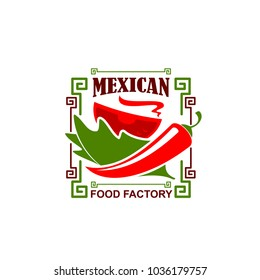 Mexican food restaurant icon of jalapeno chili red pepper for Mexican fast food bistro or fastfood cafe. Vector design of Mayan or Aztec ornament and hot spice pepper in bowl plate